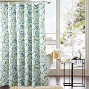 RT Designers Collection Classic Tile 70 x 72 in. Printed Shower Curtain, White/Green/Turquoise/Blue/Rust