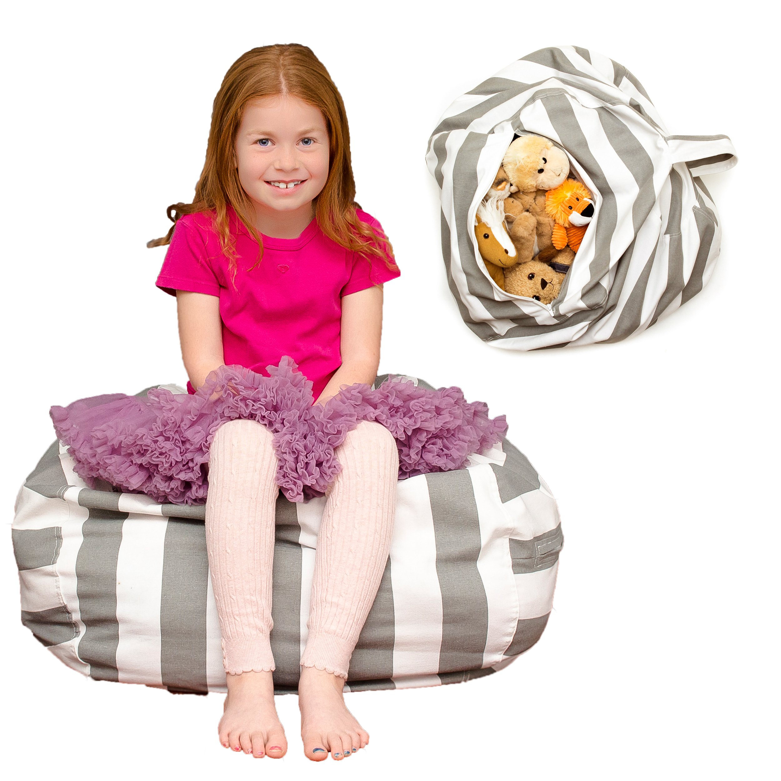 Lonnadi Toy Storage Bean Bag - LARGE - Stuffed Animal Storage Bean Bag Chair - Multi-Purpose Home Storage Solution