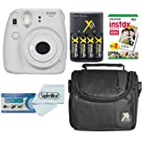 Fujifilm Instax Mini 9 Instant Film Camera With Fujifilm Instax Mini Instant Film Twin Pack (20 Sheets), Compact Bag Case, Batteries and Battery Charger (Smokey White)
