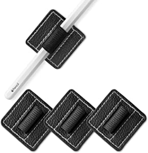 TineeOwl Pen Holder for Apple Pencil, Adhesive Loop for Books, Surface Laptop, Journal and More - 3M Self Adhesive Vegan Leather Elastic Pencil Loop (3 Pack) - Black