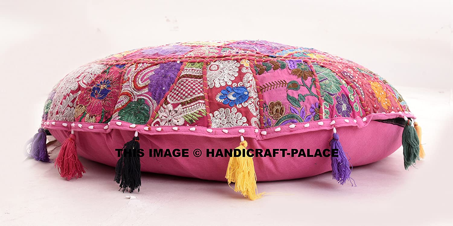 Beautiful Round Indian Patchwork Pouffe,Indian Traditional Home Decorative Handmade Cotton Ottoman Patchwork Foot Stool Floor Cushion,Embroidered Decorative Vintage Cotton 32'' By Handicraft-Palace FKP-6