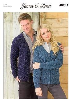 2f60cc100c6ba Ladies and Men s Cardigan JB212 Knitting Patterns from James C Brett. Knit  with Aran wool. Ladies Sizes 90-108cm 35.5…