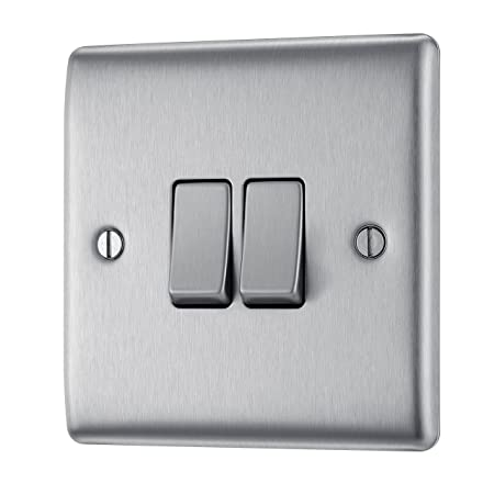 bg electrical nbs42 10ax double 2 way metal brushed steel light rh amazon co uk Fused Disconnect Switch Fused Lighted Rocker Switch