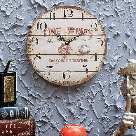 515ff0c8814c43 Horloge Murale en Bois 30cm - Horloge Vintage Silencieuse à Chiffres -  Pendule Murale Ronde et