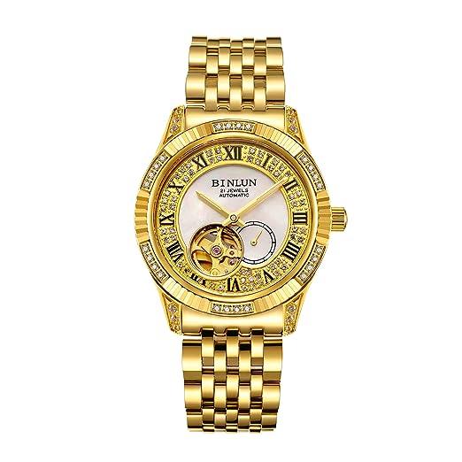 BINLUN 18 Reloj Chapado en Oro para Hombre Tourbillon automático Reloj Esqueleto mecánico de Lujo: Amazon.es: Relojes