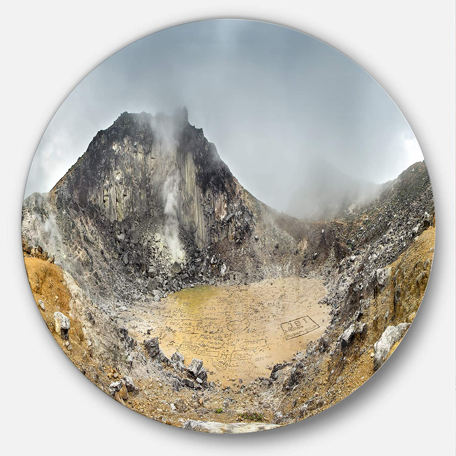 Designart Volcano Panorama With Dramatic Sky Landscape Circle Wall Art Disc Of 11 11 X 11 Yellow Orange Amazon In Home Kitchen