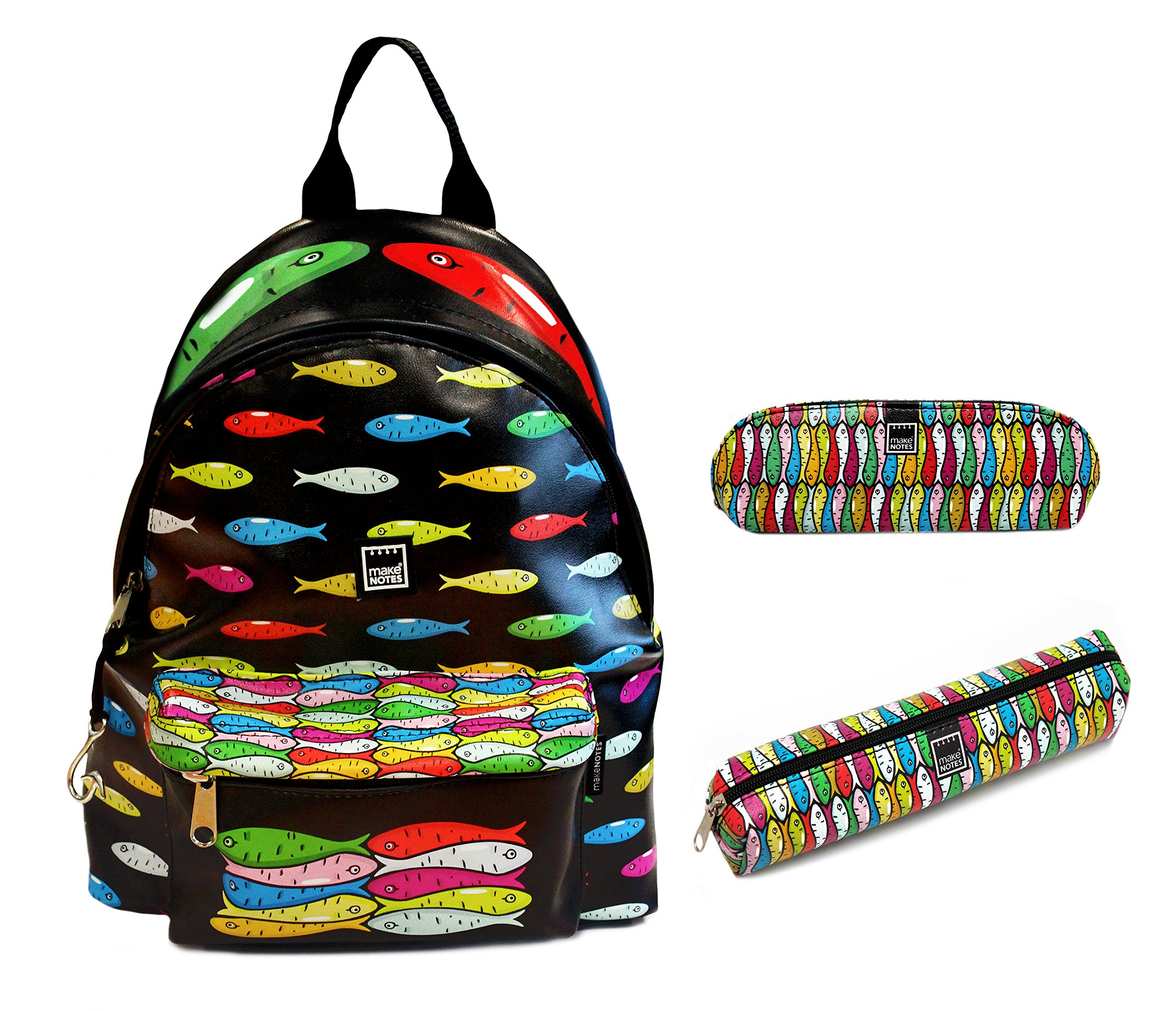 Small Backpack Set. (Style SARDINES, Pencil Case (Small) , Eyeglass Case) by Make Notes
