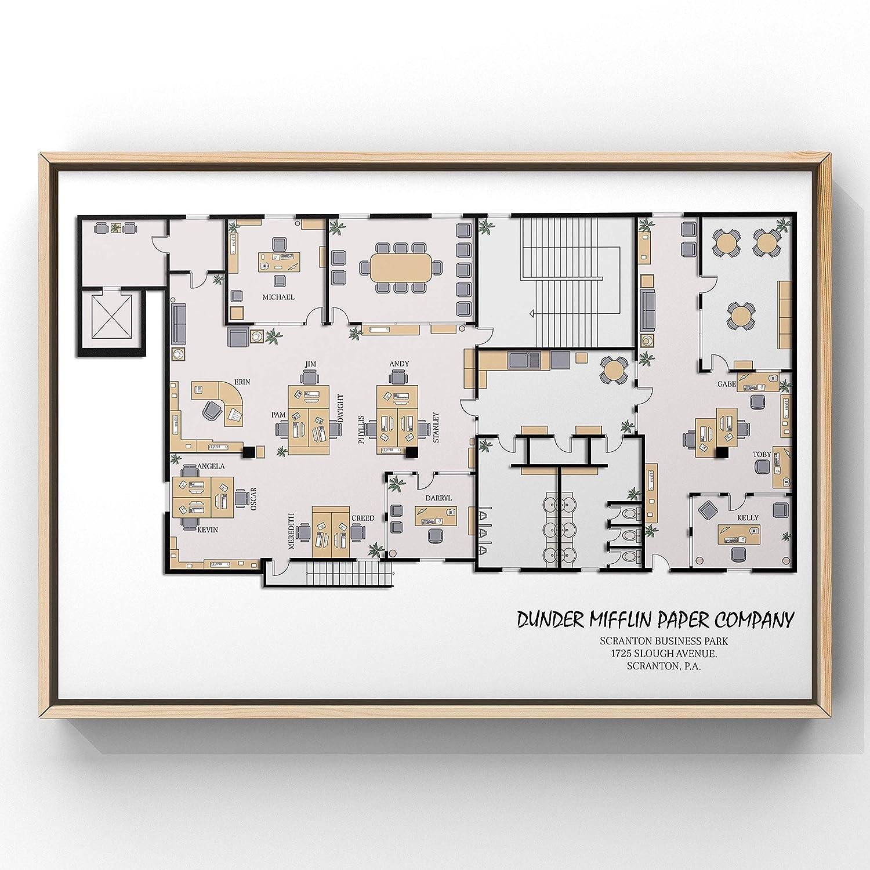 Amazon Com The Office Tv Show The Office Tv Show Print The Office Poster The Office Print Architectural Print Dunder Mifflin Floor Plan Office Plan Handmade