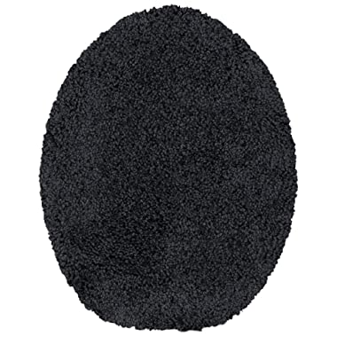 Maples Rugs Toilet Lid Cover - SofTec Soft Washable Elongated Seat Rug [Made in USA] Non Slip & Quick Dry for Bathroom, Black