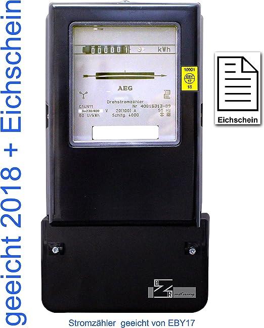 Drehstromzähler 10 A 50 Hz geeicht Rollenzählwerk 60