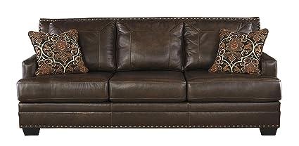 Great Ashley Furniture Signature Design   Corvan Contemporary Faux Leather Sofa  With Nailhead Trim   Antique