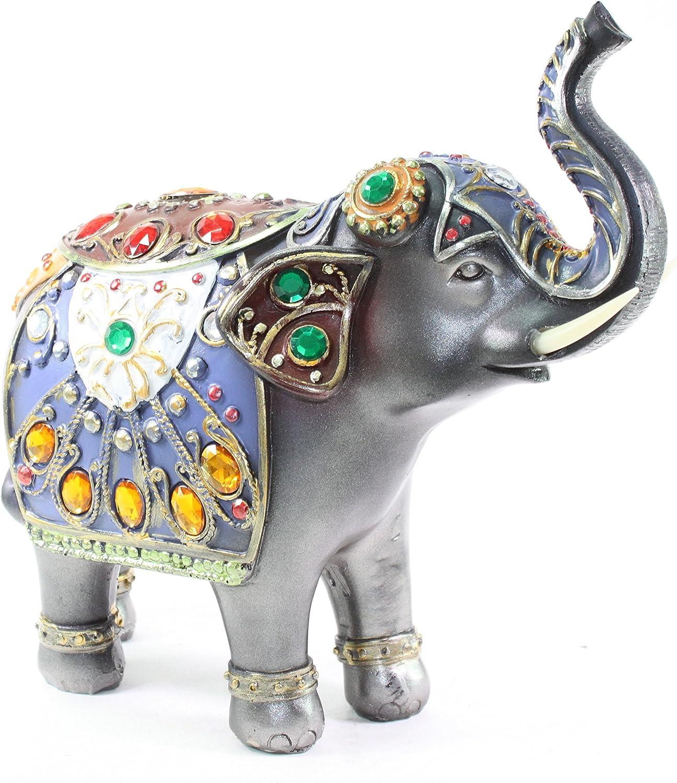 Feng Shui 10(H)) Dark Gray Elephant Wealth Lucky Figurine Home Decor Housewarming Gift US Seller