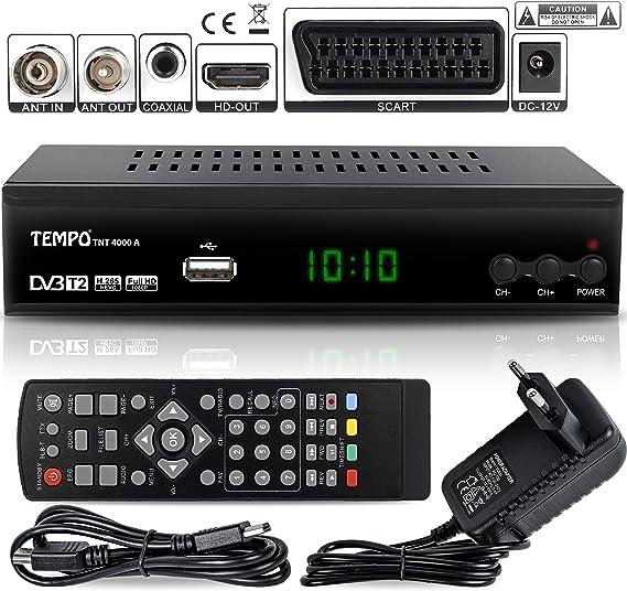 Tempo 4000 Decodificador Digital Terrestre – DVB T2 / HDMI Full HD / Canales Sintonizador / Receptor TV / PVR / H.265 HEVC / USB / Decoder / DVB-T2 / TNT / TDT Television / 4K: Amazon.es: Electrónica