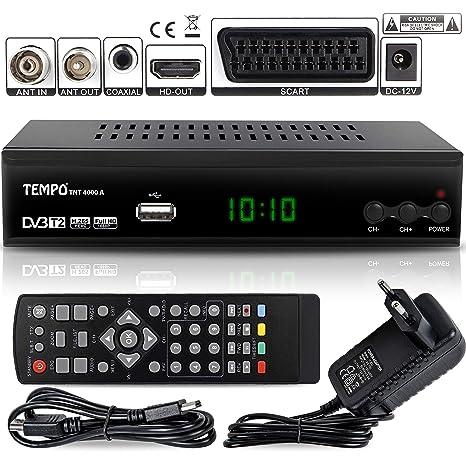 Tempo 4000 Decodificador Digital Terrestre – DVB T2 / HDMI Full HD / Canales Sintonizador / Receptor TV / PVR / H.265 HEVC / USB / Decoder / DVB-T2 / ...