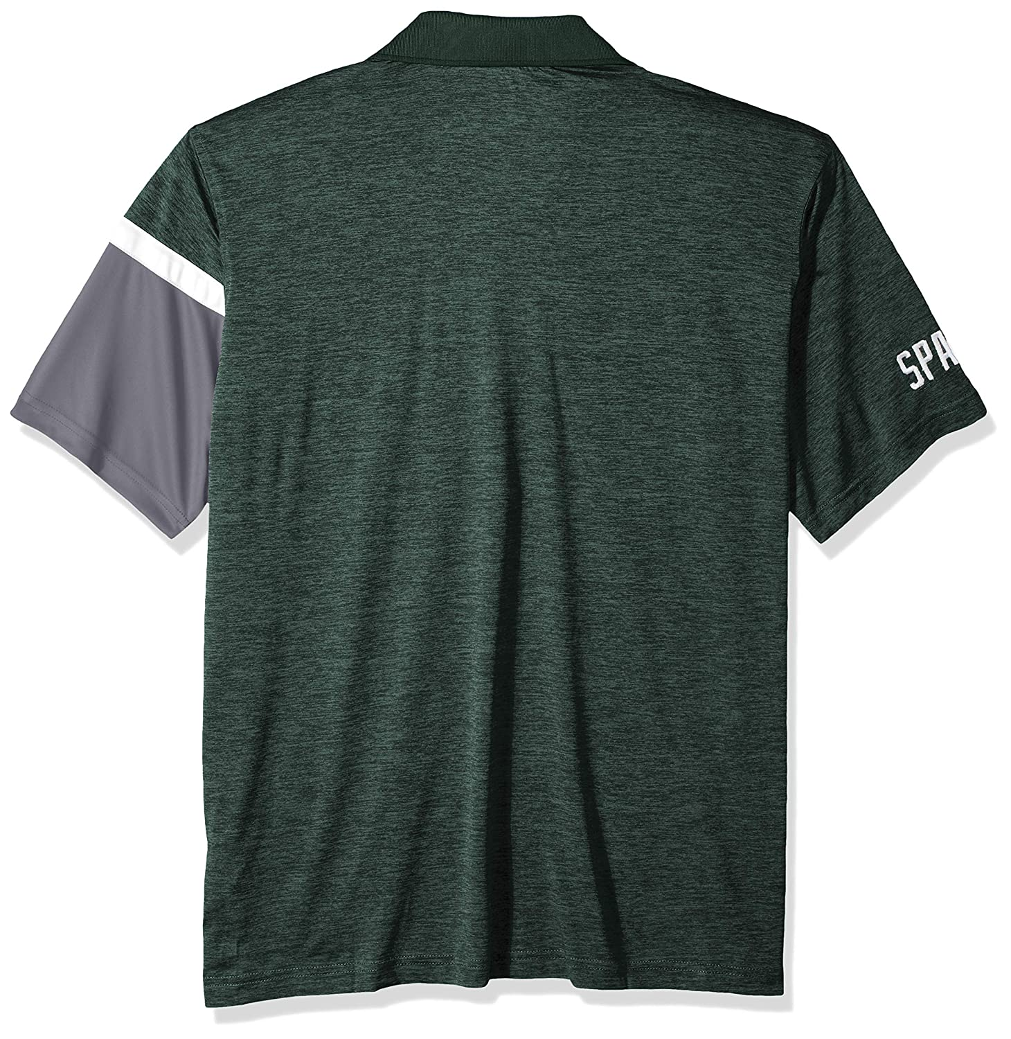 Dark Green Large NCAA Michigan State Spartans Mens NCAA Mens Short Sleeve Striped Polo Collared Teechampion NCAA Mens Short Sleeve Striped Polo Collared Tee