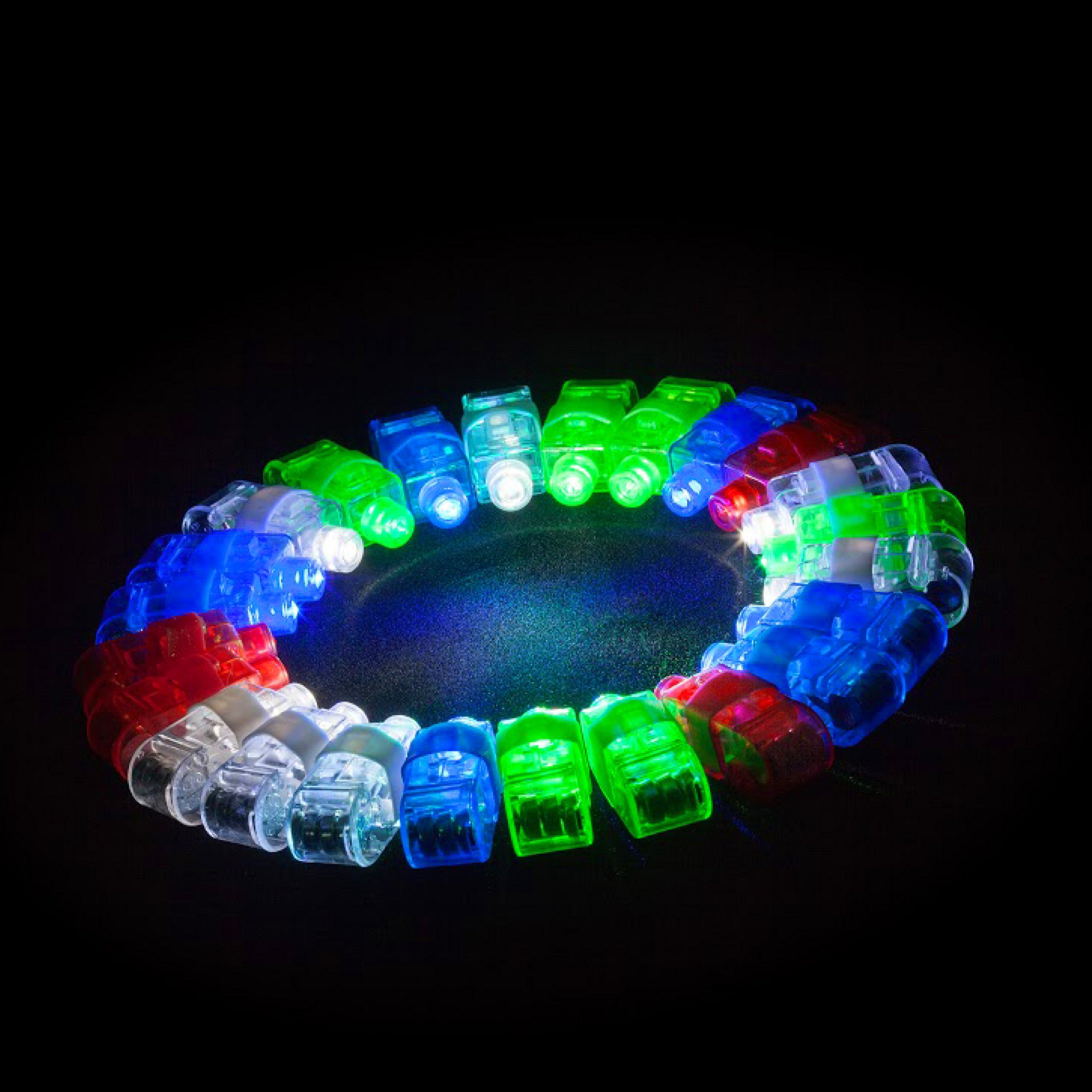 LED Glow Party Favors Party Supplies - 50 LED Glow Party Favor for Kids Glow in The Dark Party Supplies 32 Finger Light Up Toys + 13 Glow Rings + 5 Shades by PartySticks (Image #5)