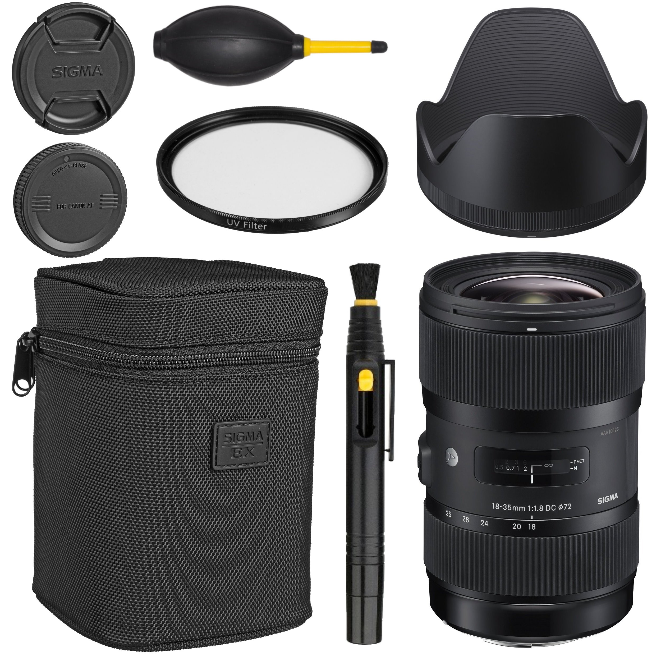 Sigma 18-35mm f/1.8 DC HSM Art Lens for Canon -Black + Essential Bundle Kit + 1 Year Warranty - International Version (No Warranty) by AOM