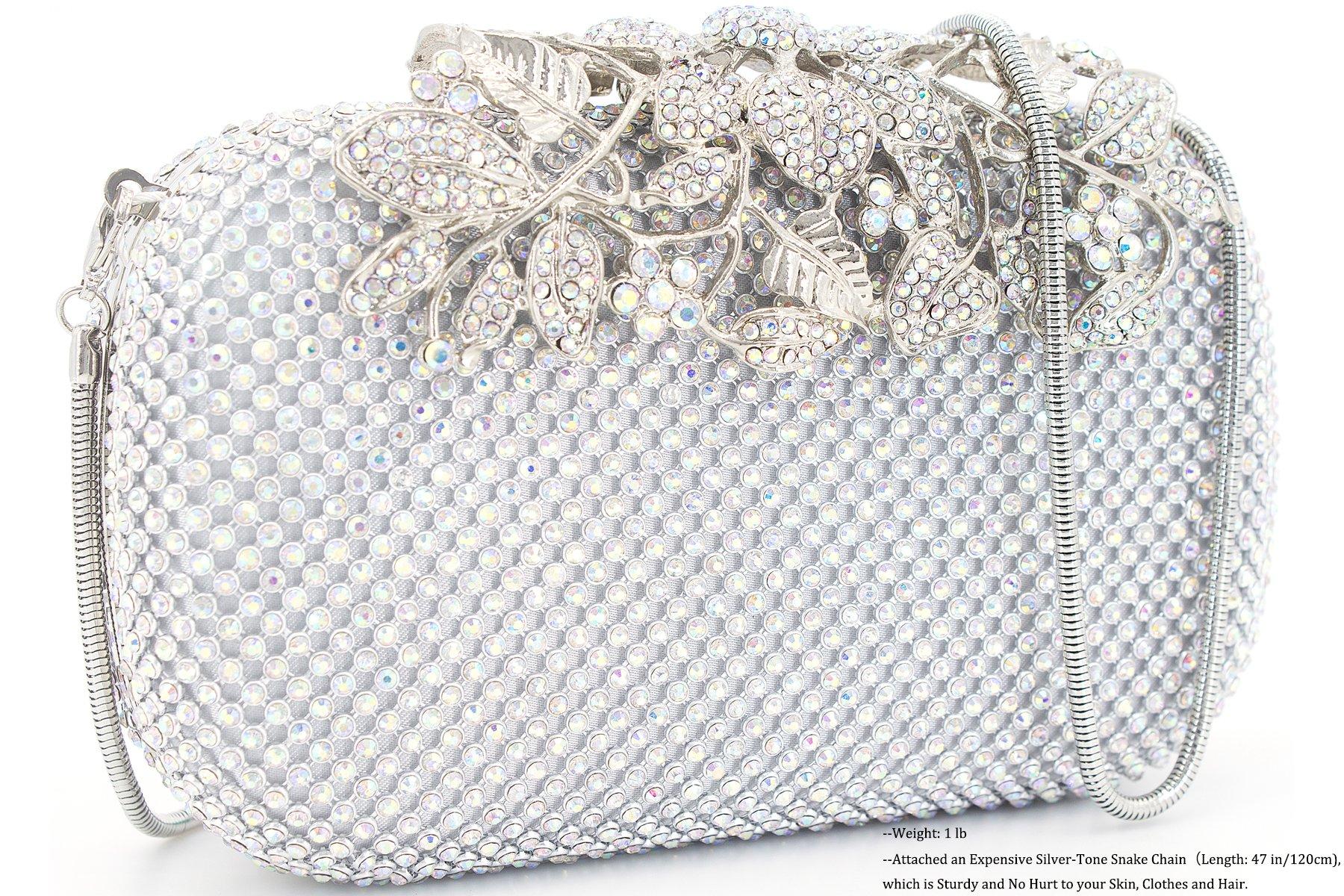 Dexmay Luxury Flower Women Clutch Purse for Wedding Party Rhinestone Crystal Evening Bag AB Silver by DEXMAY DM