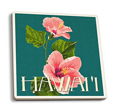 Hawaii - Pink Hibiscus Flower Letterpress (Set of 4 Ceramic Coasters -  Cork-backed, Absorbent)