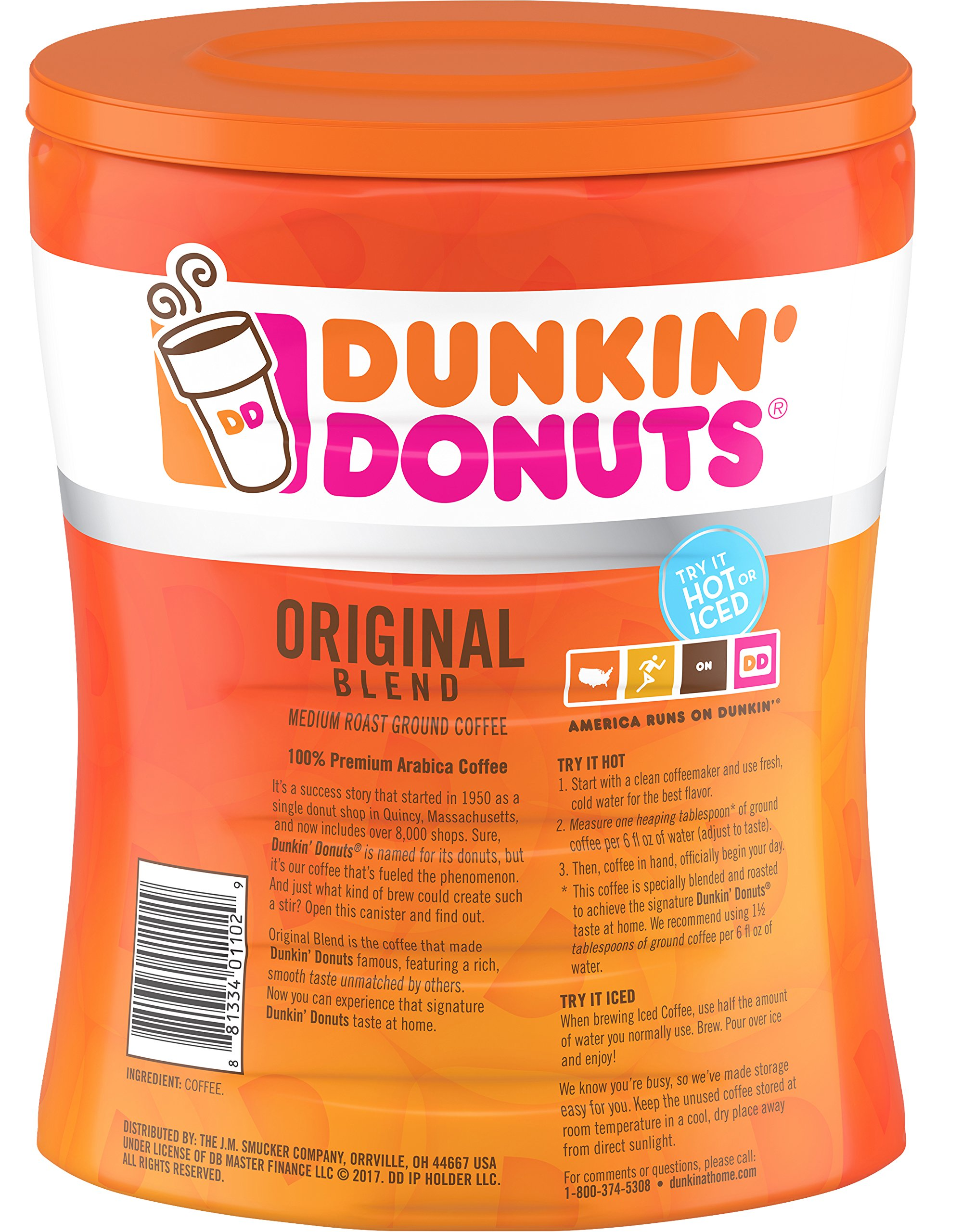 Dunkin' Donuts 6-Pack Original Blend Ground Coffee, Medium Roast, 30-Ounce Canisters by Dunkin' Donuts (Image #3)