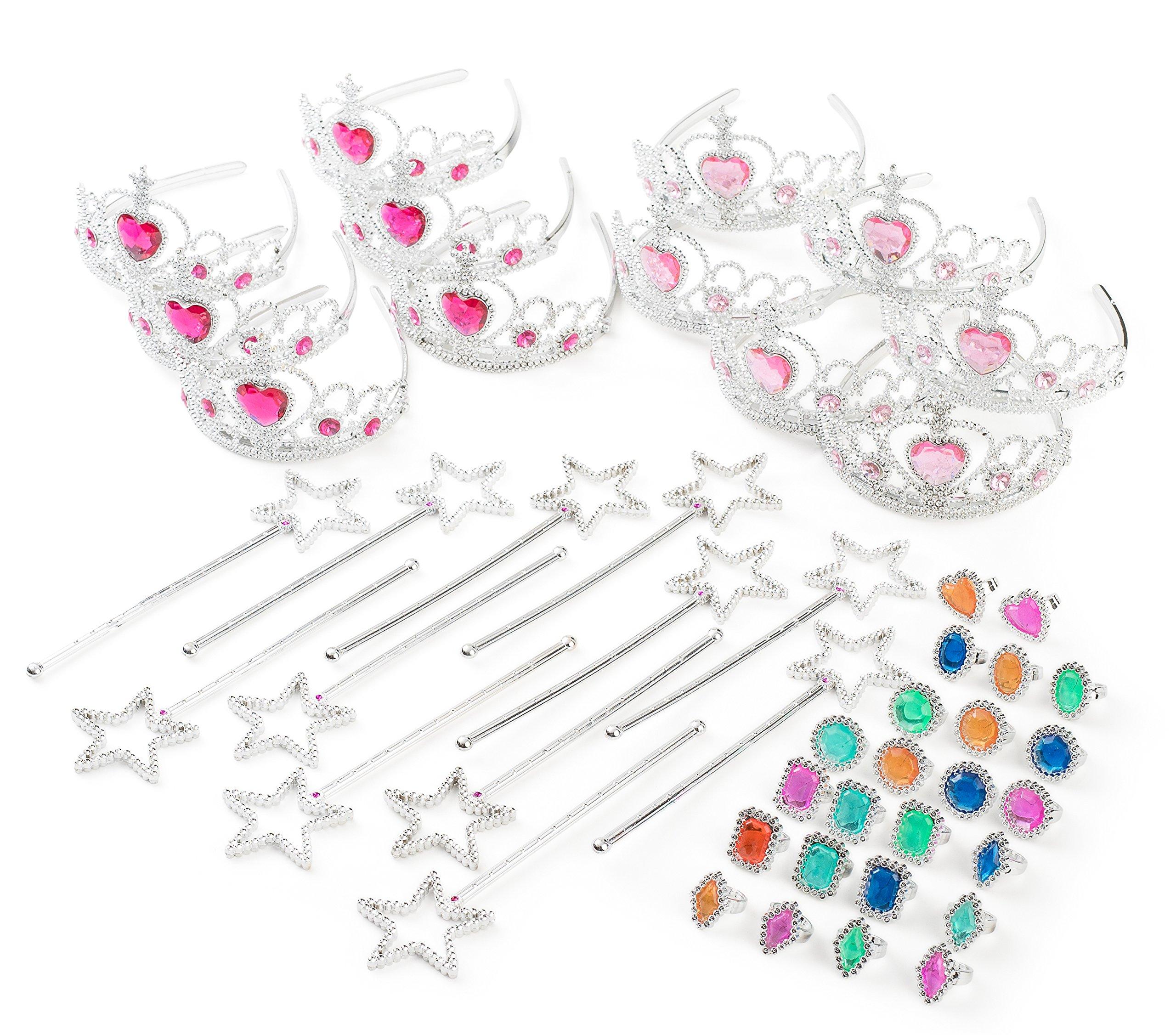 Princess Pretend Play Set - Easter Tiara Dress Up Play Set - Crowns, Wands, and Jewels - Princess Girls Party Favors - Princess Costume Party Play Set, (12 Princess Crown Tiaras, 12 Wands, 24 Rings) by Neliblu