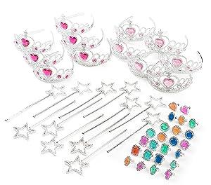 Princess Pretend Play Set - Easter Tiara Dress Up Play Set - Crowns, Wands, and Jewels - Princess Girls Party Favors - Princess Costume Party Play Set, (12 Princess Crown Tiaras, 12 Wands, 24 Rings)