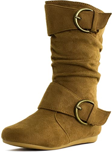 Baby Girls Toddler Boots Military Combat Mid Calf Lace Up Round Toe Size 4-8