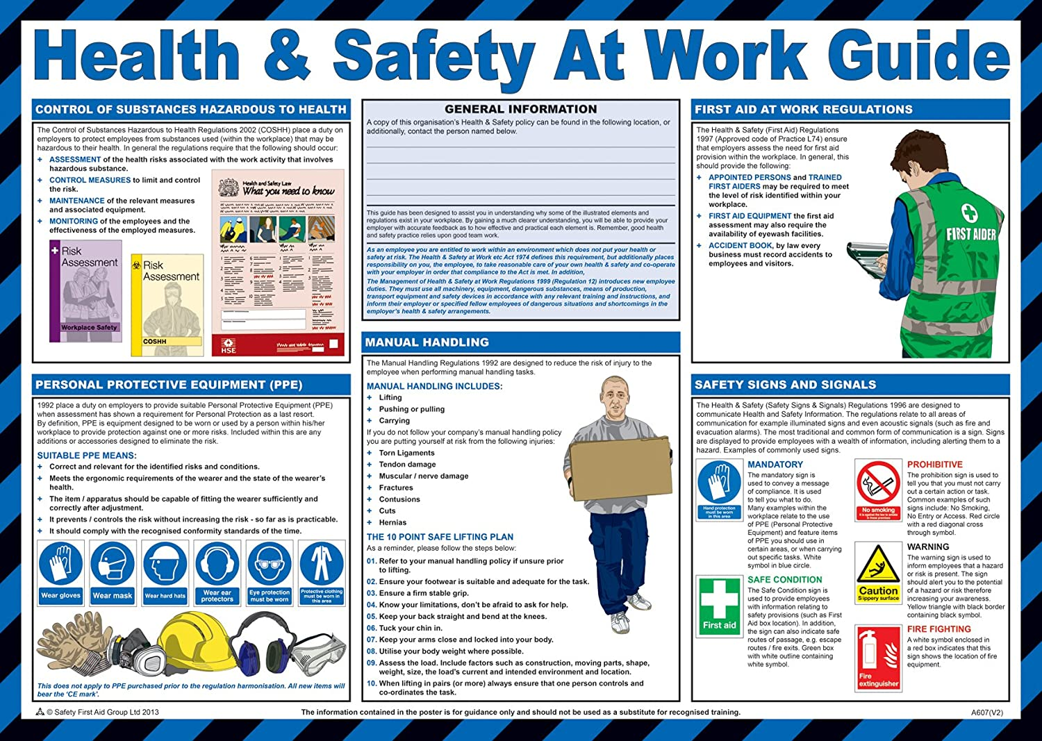 Safety First Aid Laminated Health and Safety at Work Guide Poster ...