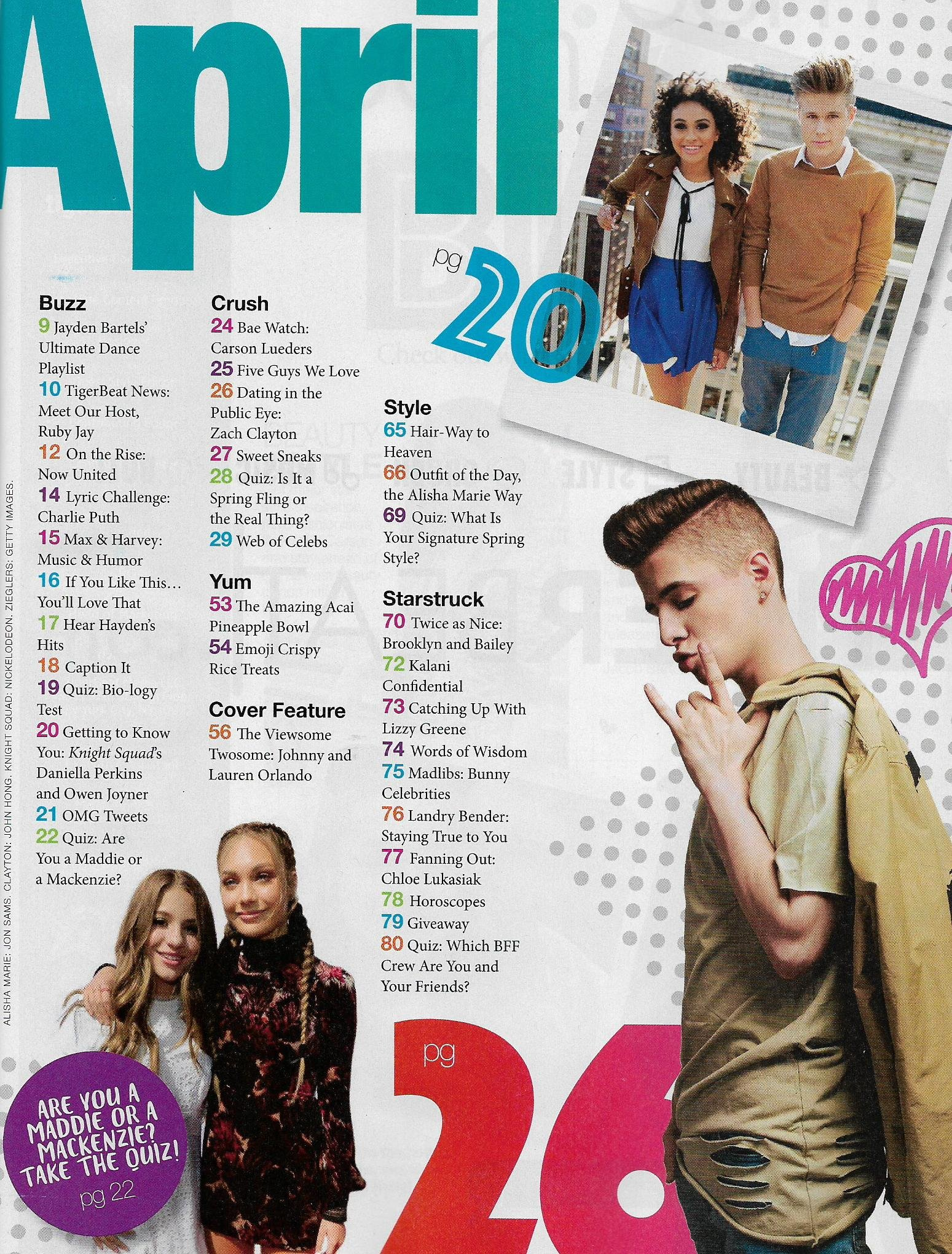 Tiger Beat Magazine March April 2018 Johnny & Lauren Orlando