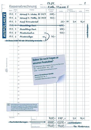 3x Zweckform Kassenabrechnung 427 A4 je Buch 2x 50 Blatt AVERY mit MwSt.-Spalte