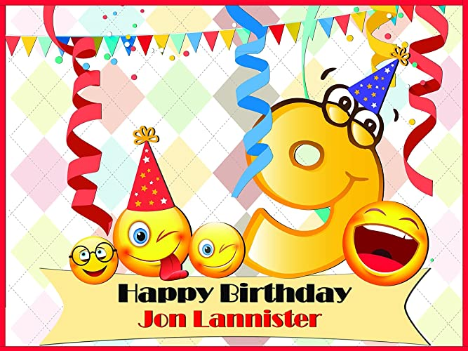Amazon.com: Custom 9 Year Old Kids Emoji Birthday Poster - Size ...