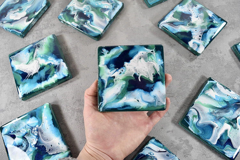 Posavasos de bebidas con arte abstracto azul verde blanco