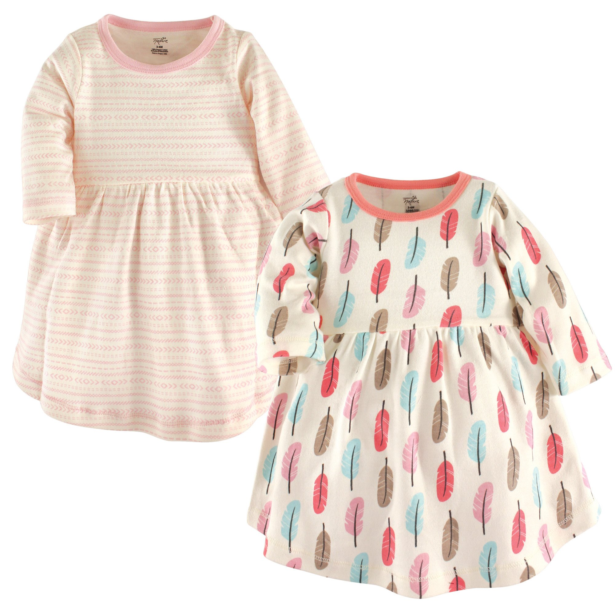 Touched by Nature Baby Girls 2-Pack Organic Cotton Dress, Feathers, 2 Toddler