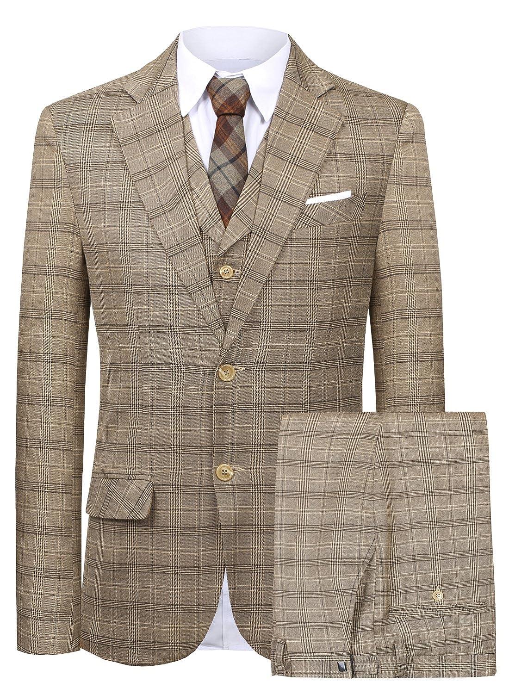 Hanayome Men's Slim Fit Suit Blazer Jacket Tux Vest & Trousers 3-Piece Suit Set