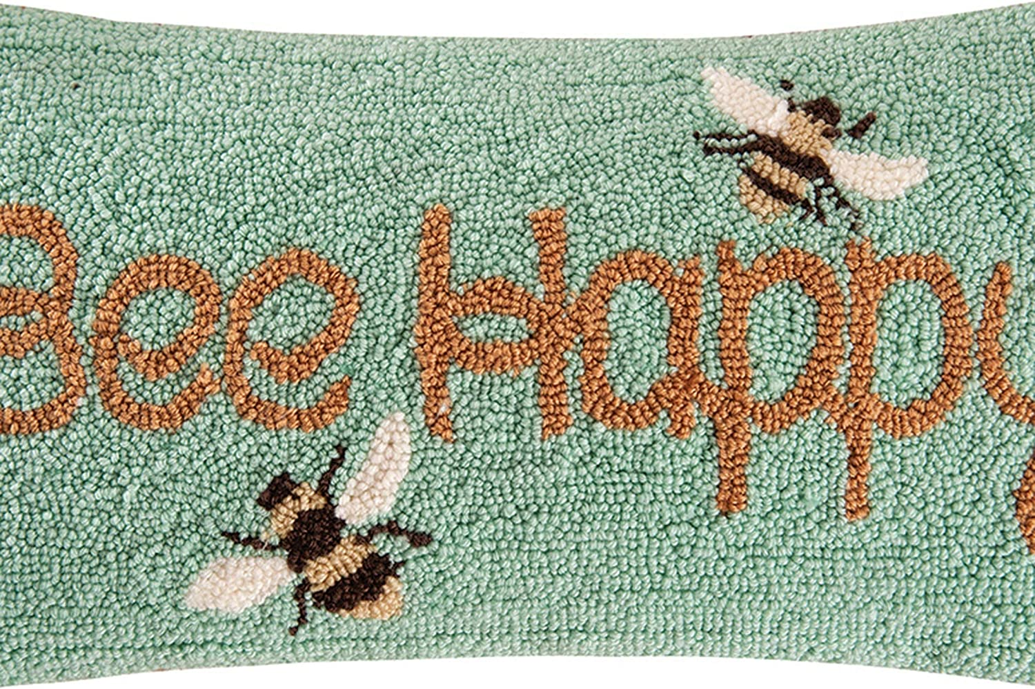 C F Home Bee Happy Bumble Bee Green Yellow Spring Easter Garden Summer Decorative Handmade Hooked Handmade Pillow 10 X 20 Yellow Home Kitchen