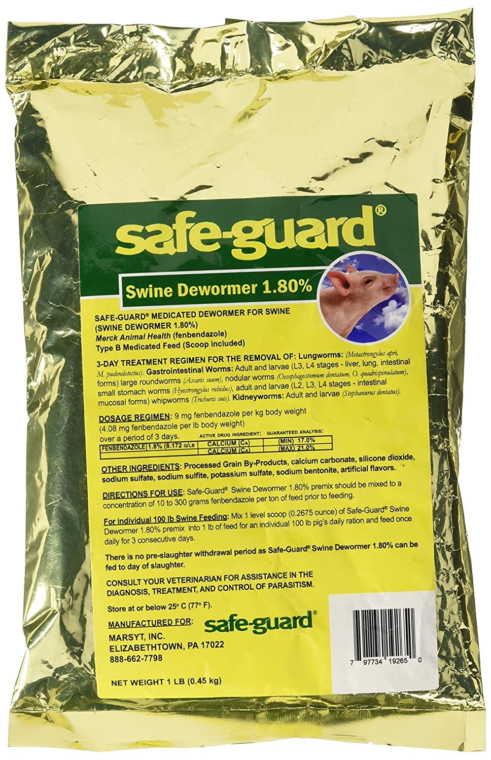 1 LB Safe-Guard 1.8% Swine Scoop Dewormer