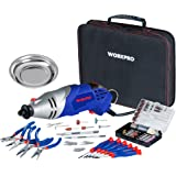WORKPRO Multi-function Rotary Tool Kit Variable Speed with Universal Fitment Accessories and Precision Pliers and Screwdrivers Set 152-piece for Around Home and DIY Projects