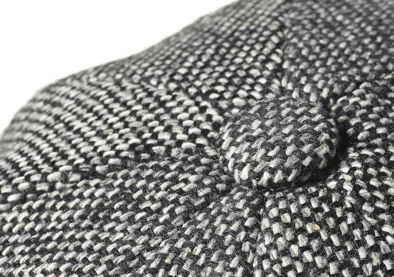 Medium Peaky Blinders 8 Piece Newsboy Style Flat Cap -100/% Wool Fabric Variations , Black Birds Eye Tweed 57cm
