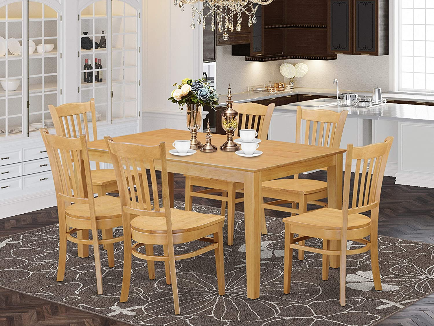East West Furniture Small Dining Table Set 9 Piece   Wooden Dining Room  Chairs Seat   Oak Finish Wood Table and Structure