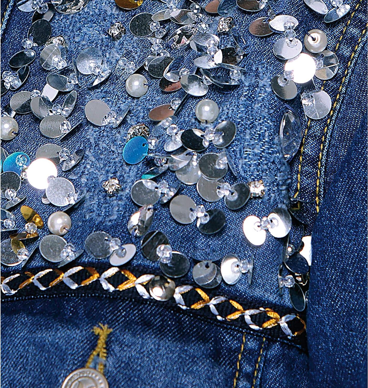 Veste en jean sequins et pierres fantaisie bas effiloché