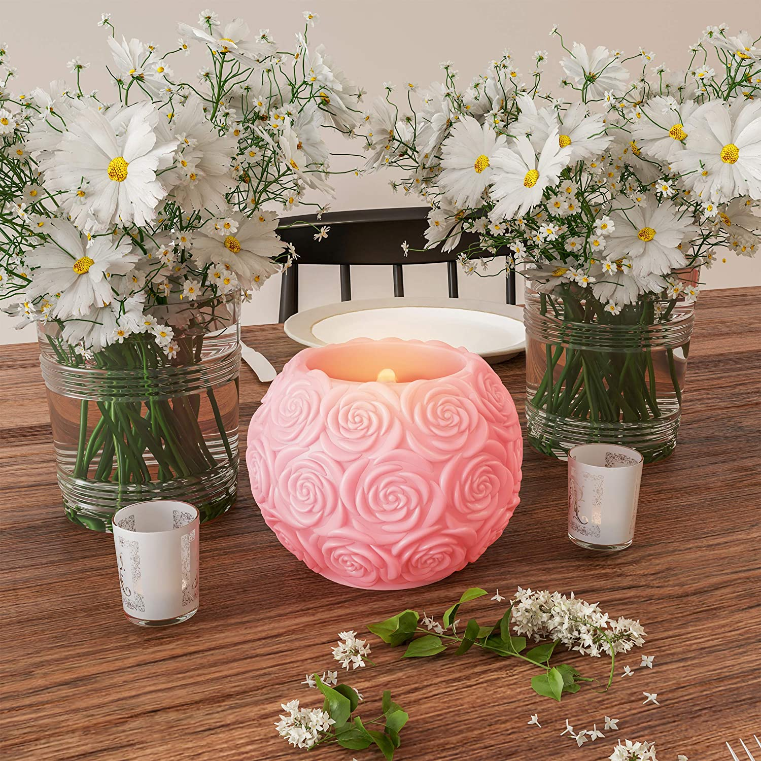 Lavish Home LED Candle with Remote Control-Rose Ball Design Scented Wax Realistic Flickering or Steady Flameless Sphere Light-Ambient Home Décor