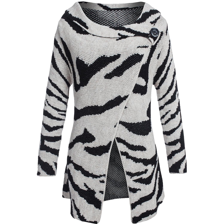 Damen Longstrickjacke mit Mohair und Wolle Strickmantel im Zebra Muster XS S M