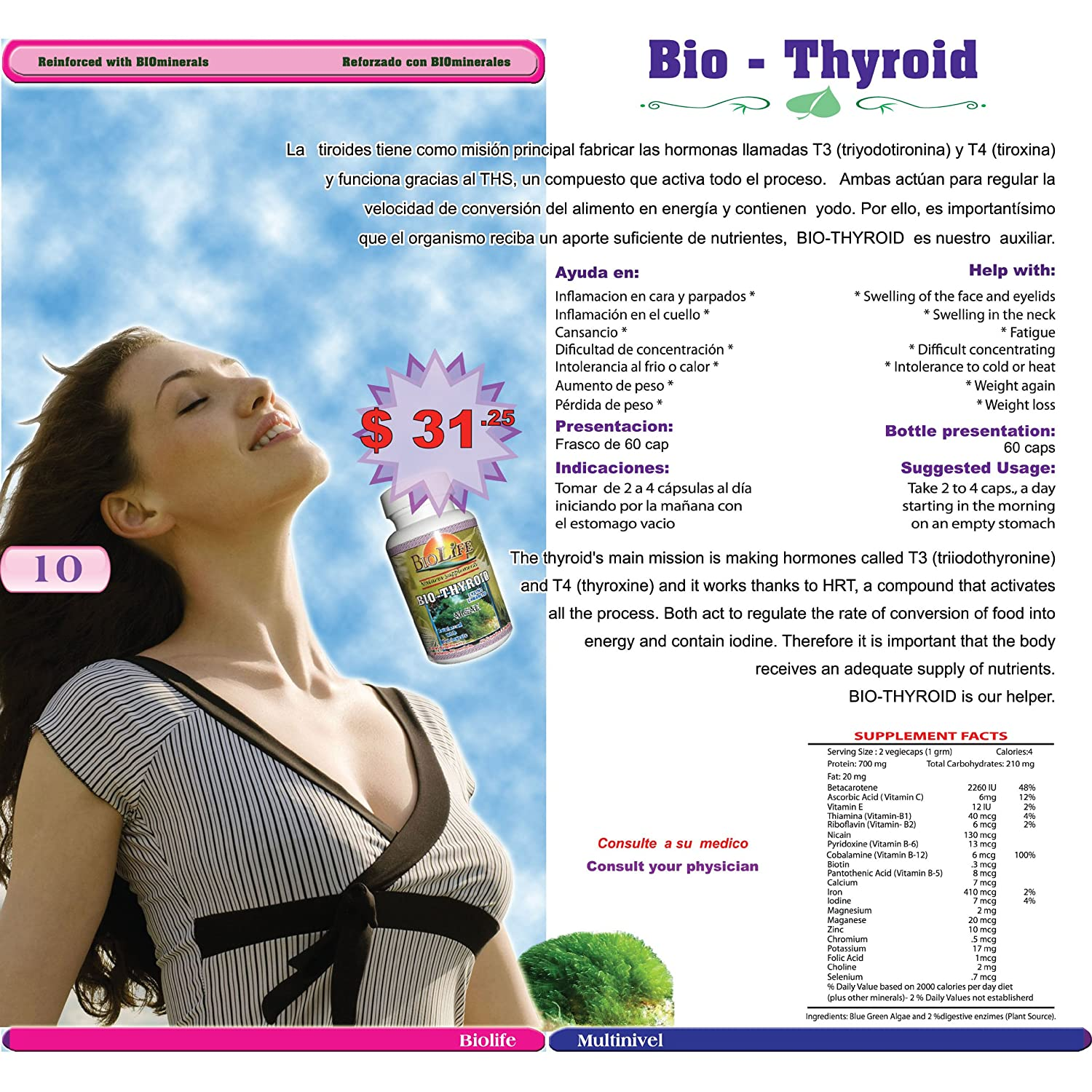 Amazon.com: Bio Thyroid By Biolife, 60 Caps Blue Green Algeae and Biominerals 500mg: Health & Personal Care