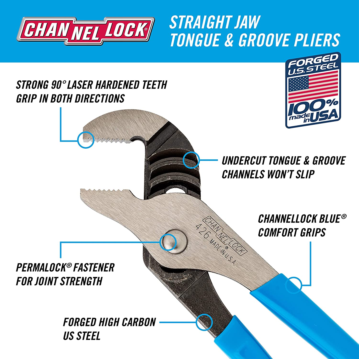 Channellock 460 Straight Jaw Tongue And Groove Plier Tongue And Groove Pliers Amazon Com