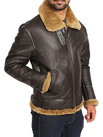 59660eee02 Mens Classic Real Sheepskin Leather Coat Brown B-3 Bomber Jacket Ginger -  Maurice (
