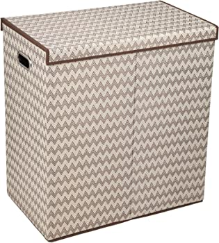 Household Essentials 5626-1 Double Hamper Laundry Sorter with Magnetic Lid Closure | Chevron