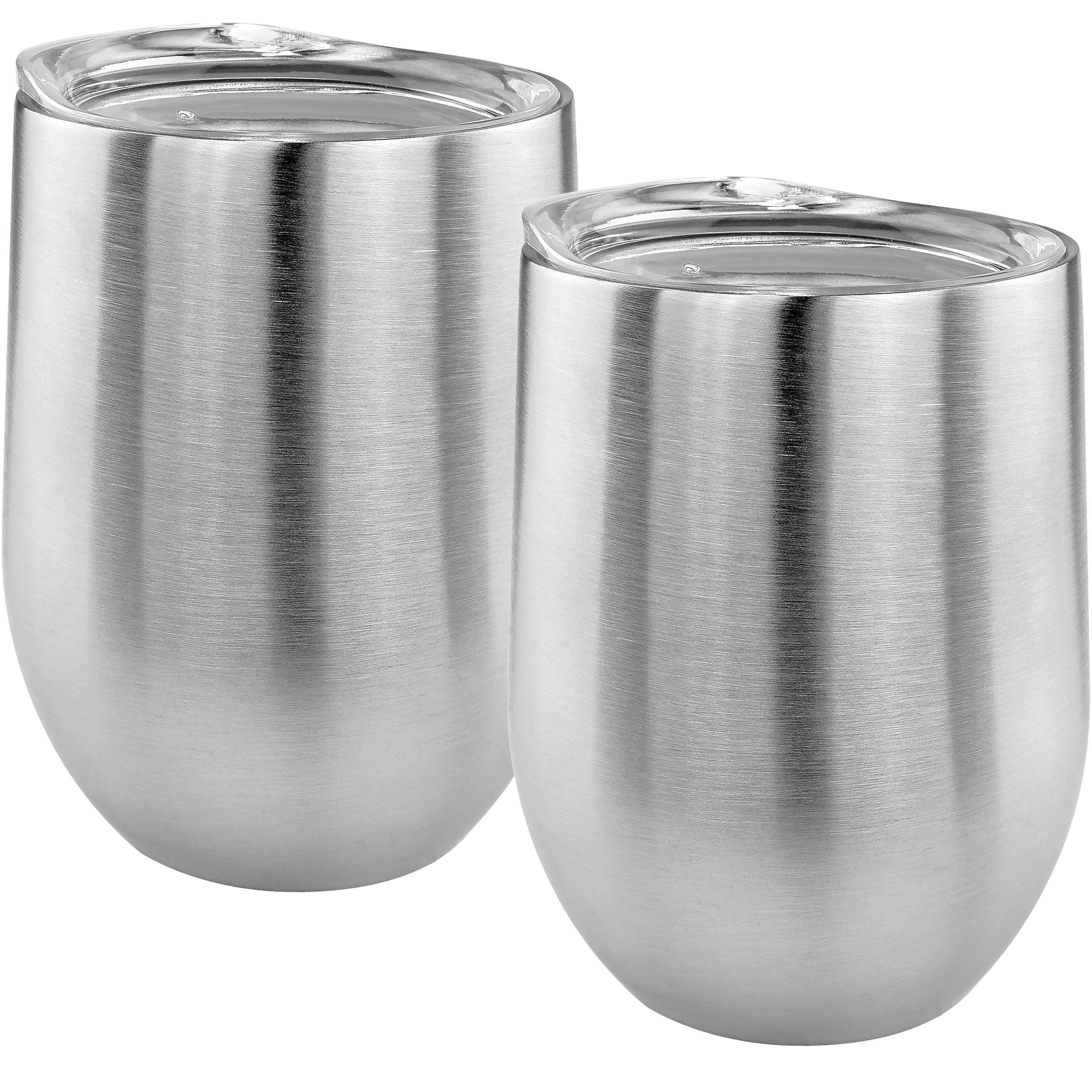 Southern Homewares SH-10212-S2 Double Wall Stainless Stemless Wine Glass (Set of 2), 14oz, Silver