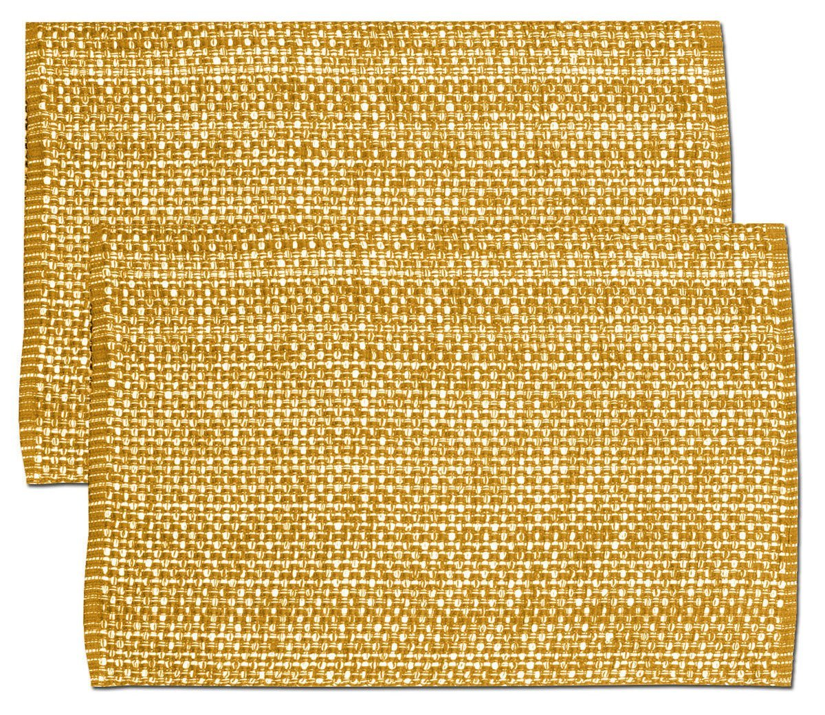 """Unique & Custom {13 x 19'' Inch} Set Pack of 2 Rectangle """"Non-Slip Grip Texture"""" Large Table Placemats Made of Washable Flexible 100% Cotton w/ Woven Country Modern Design [Yellow/Orange Color]"""