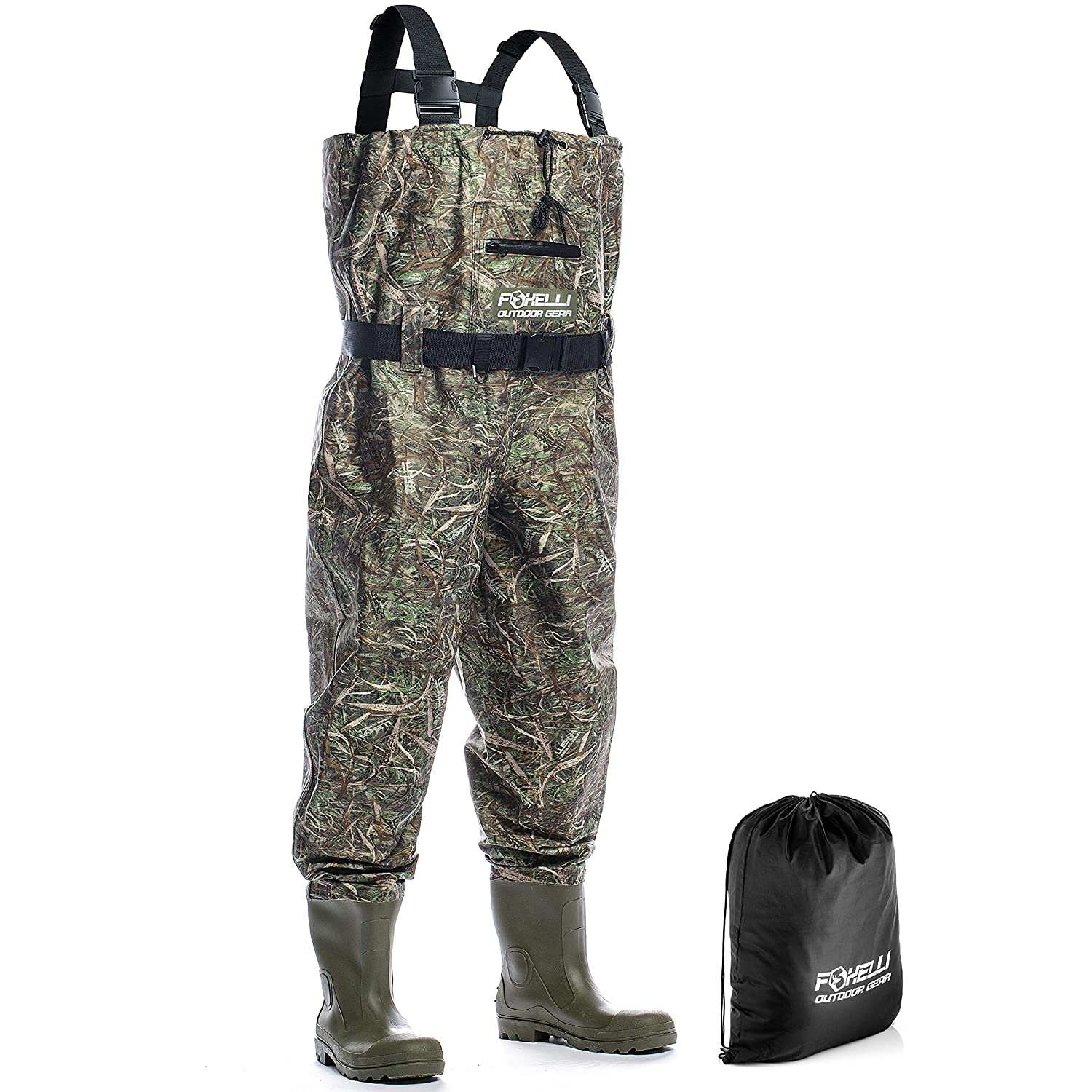 Foxelli Nylon Chest Waders Camo Fishing Waders for Men with Boots – Use for Fly Fishing, Duck Hunting, Emergency Flooding 100 Waterproof, Carrying Bag Included
