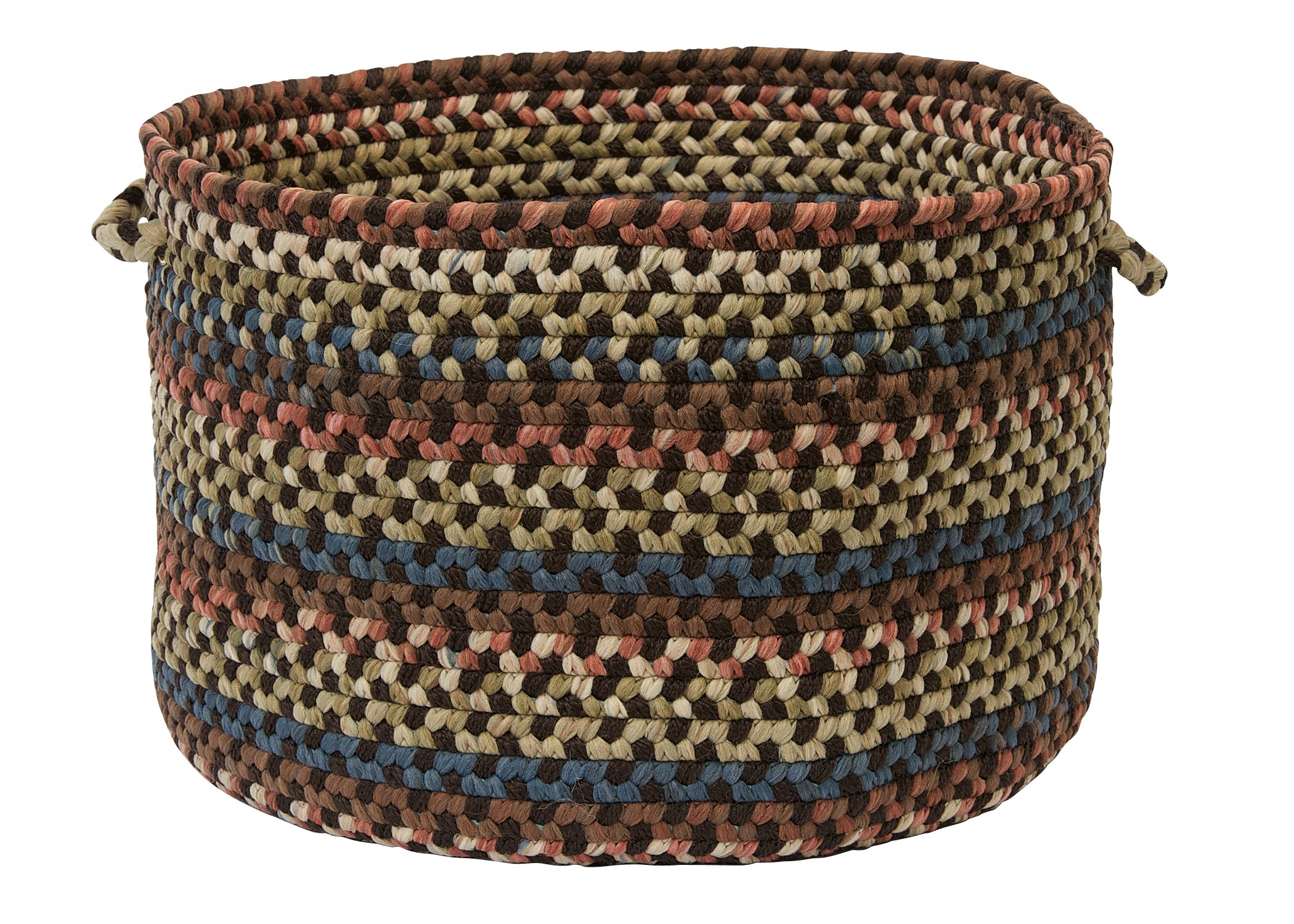 Colonial Mills CV89 14 by 14 by 10-Inch Cedar Cove Storage Basket, Dark Brown - A Soft Calming and Stylish Wool Blend Multi Purpose Storage Option Durable 35-Percent Wool/65-Percent Nylon Space dye Yarns and Textured Flat-Braid Construction Provide Style and Durability Two Durable Easy-Grip Handles Provide Worry-free Storage Handling - living-room-decor, living-room, baskets-storage - 914 lOsuzTL -